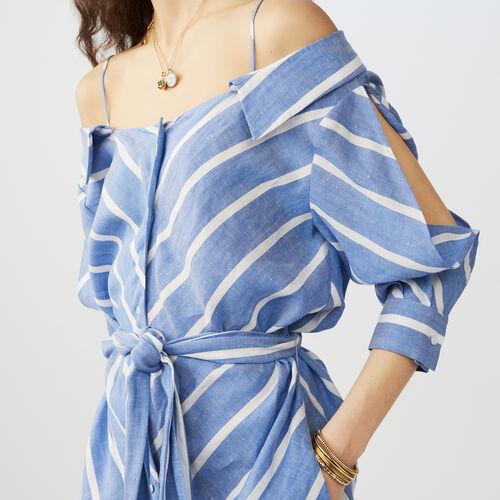 Striped cold-shoulder shirt dress : staff private sale color Blue