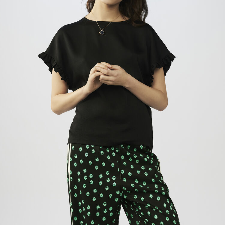 Oversized top with flounce detail : staff private sale color Black 210