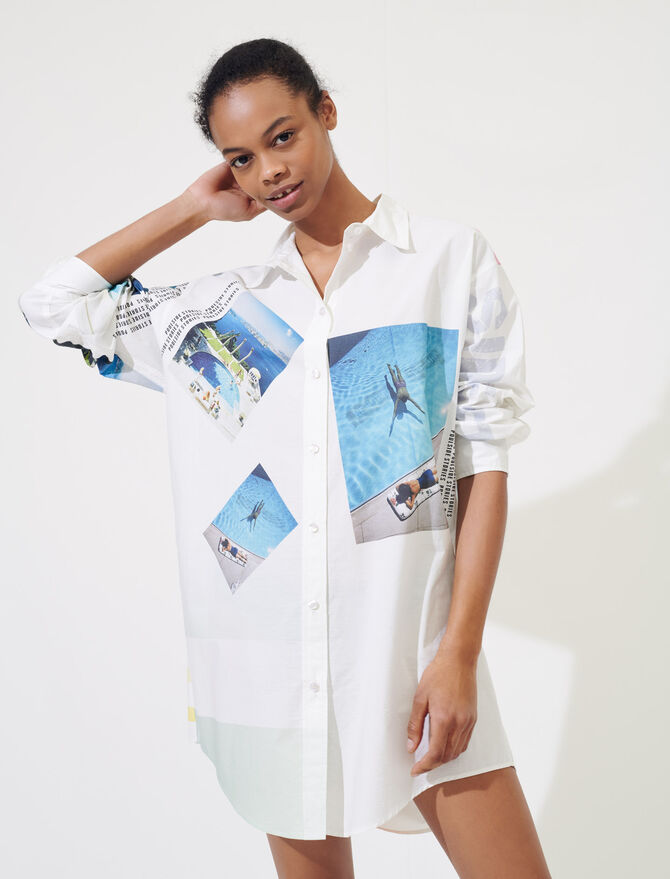 Printed oversized cotton shirt - Tops & Shirts - MAJE