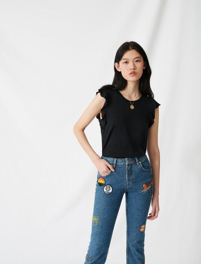 Sleeveless top with ruffles - T-Shirts - MAJE