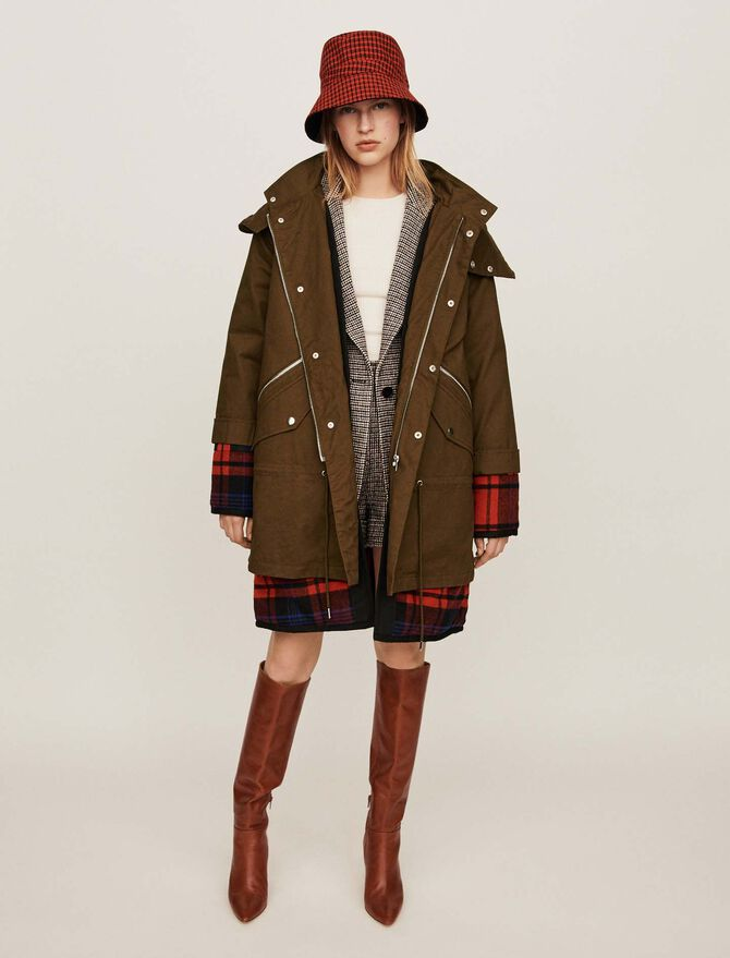 Trompe-l'oeil parka with oversized hood - Coats & Jackets - MAJE