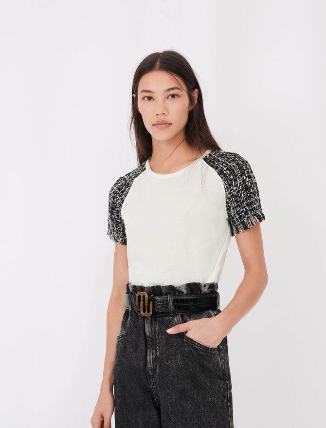 Tweed-style short-sleeved T-shirt - Tops & Shirts - MAJE