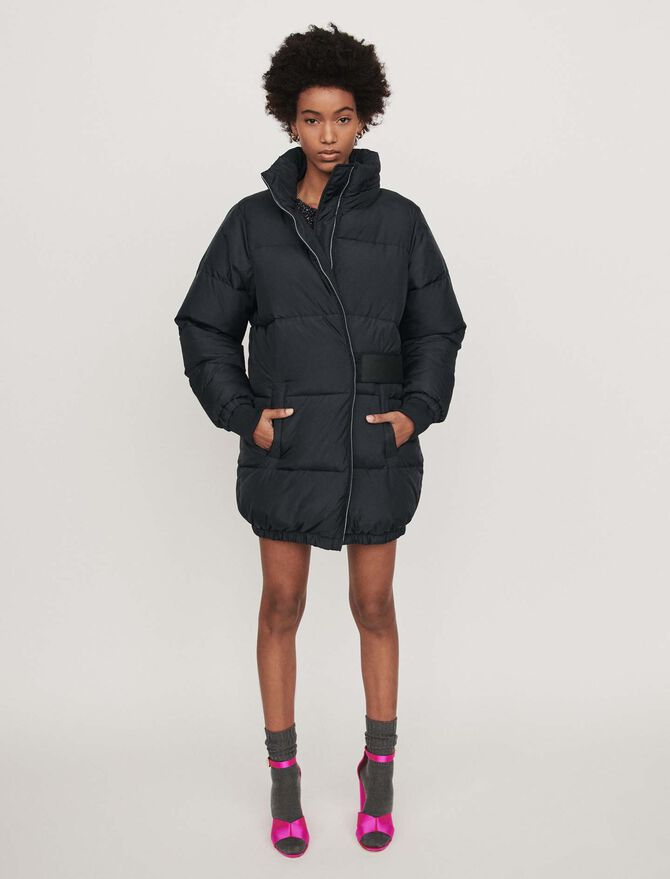 Long hooded puffer coat - Coats - MAJE