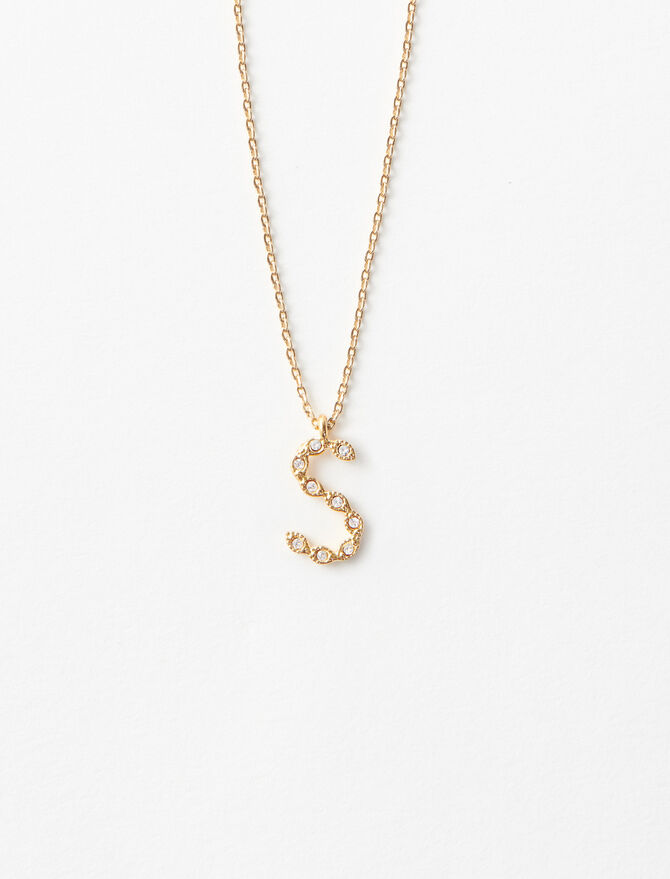 Rhinestone S necklace - Alphabet necklaces - MAJE