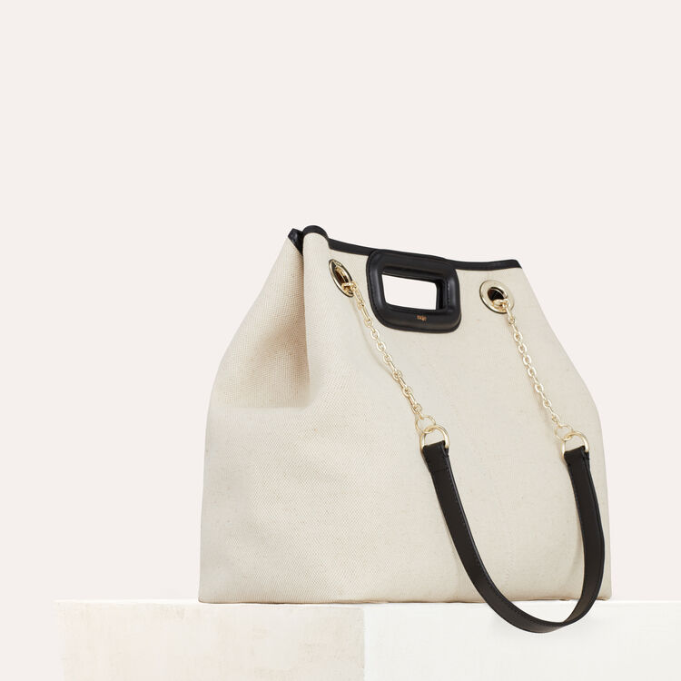 M canvas tote with chain : Totes & M Walk color Two-Tone
