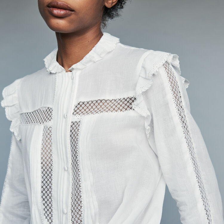 Blouse in cotton voile with lace : Shirts color White