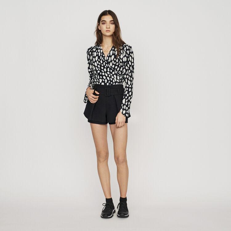 Front-pleated trompe-l'œil shorts : Skirts & Shorts color Black 210