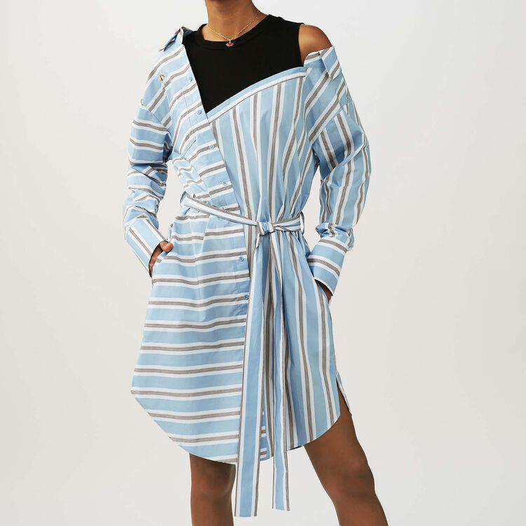 Oversized shirt dress in striped cotton : staff private sale color Blue Sky