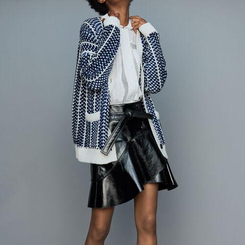 Oversize jacket in jacquard knit : Knitwear color Blue