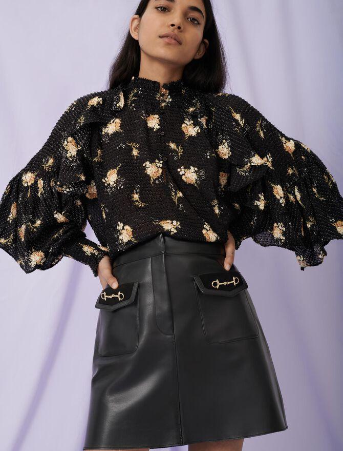 Flared leather skirt and horsebit detail - Skirts & Shorts - MAJE
