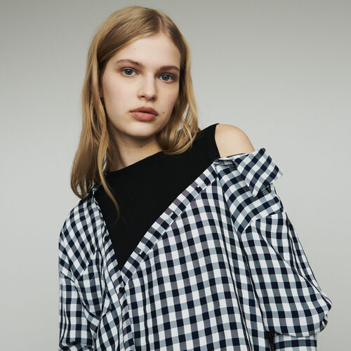 Trompe-l'œil shirt in  vichy : Tops color CARREAUX