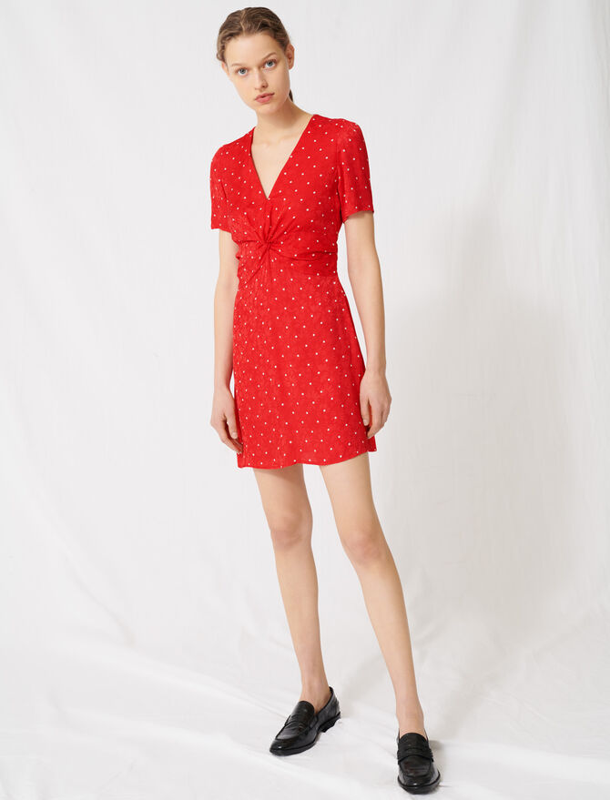 Polka dot jacquard dress - Dresses - MAJE