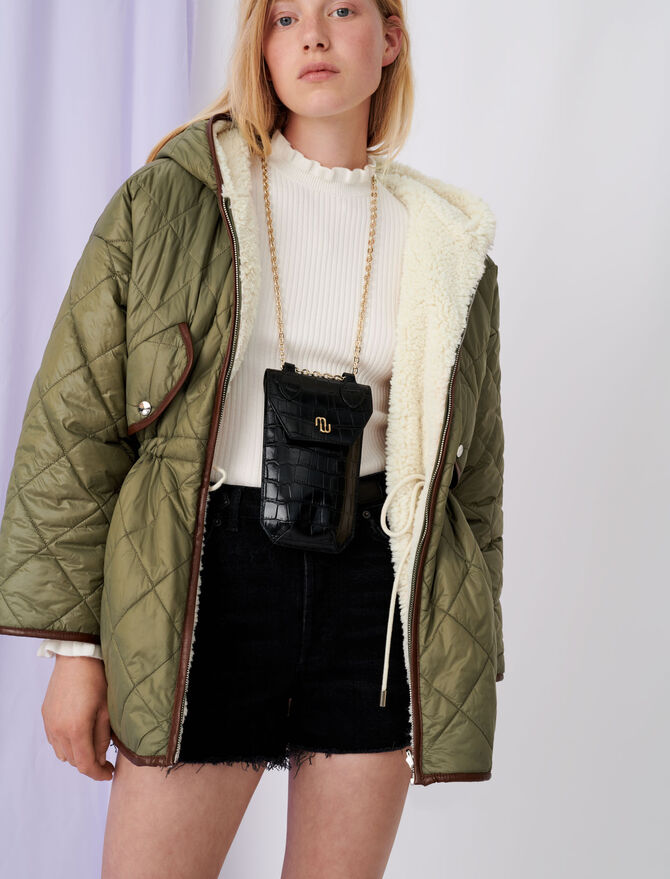 Down jacket with hood and fur-effect - Coats & Jackets - MAJE