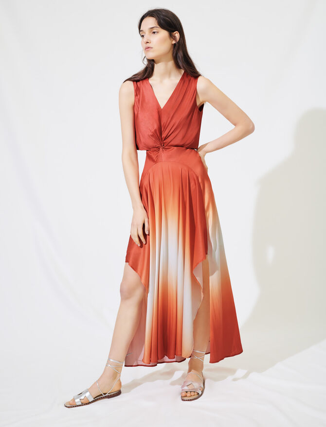 Tie-dye satin scarf dress - Dresses - MAJE