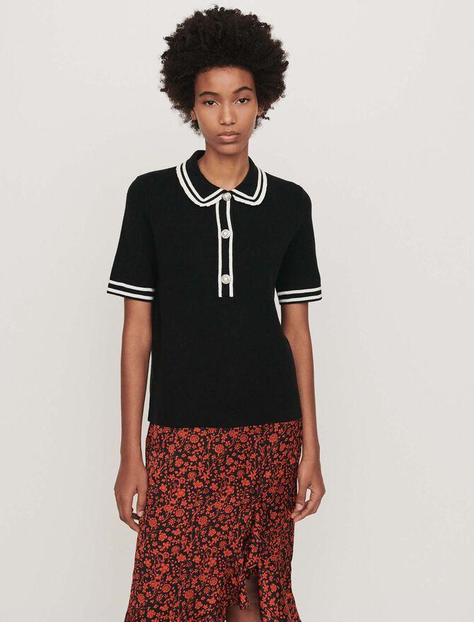 Contrast and jeweled polo-style sweater - Knitwear - MAJE