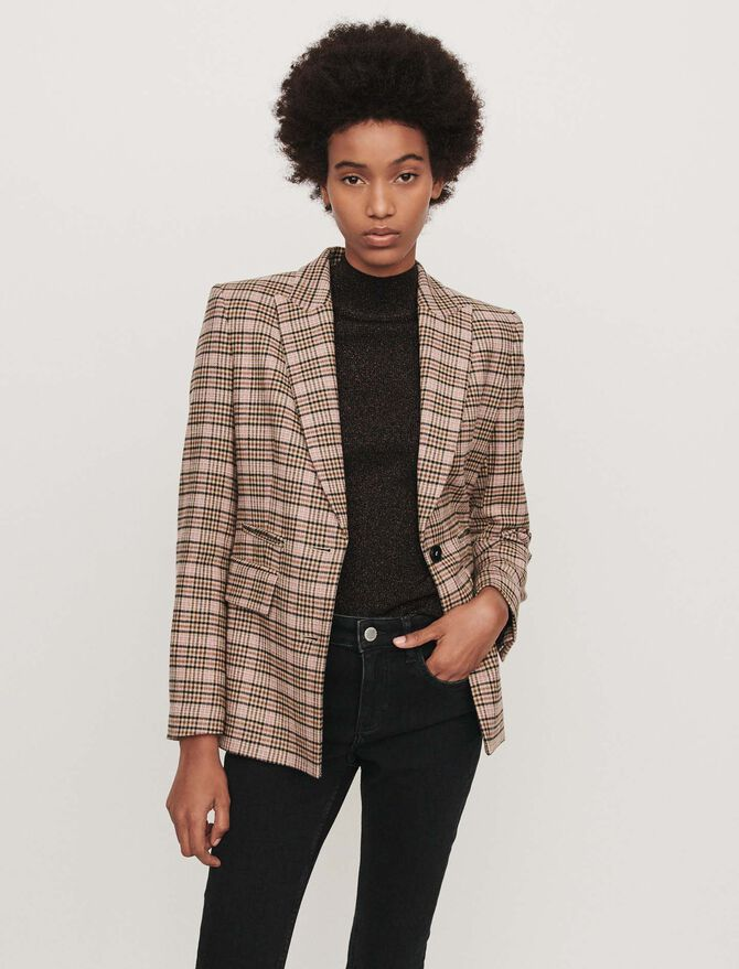 Fitted plaid jacket -  - MAJE