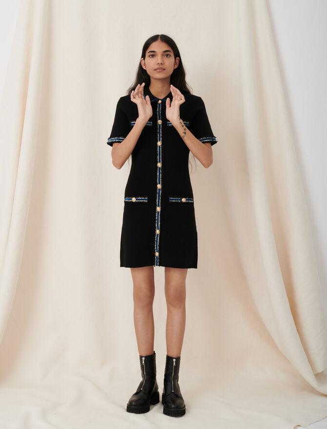 Knitted dress with velvet details - Dresses - MAJE