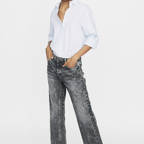 Wide leg distressed jeans : Jeans color Grey
