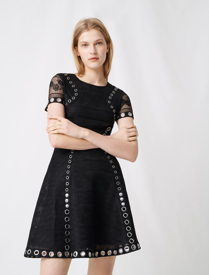 Skater dress with eyelets and studs - Dresses - MAJE