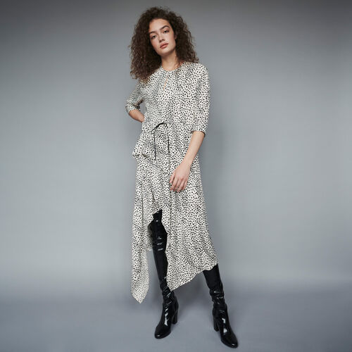 Jacquard-printed asymmetrical dress : Winter collection color White