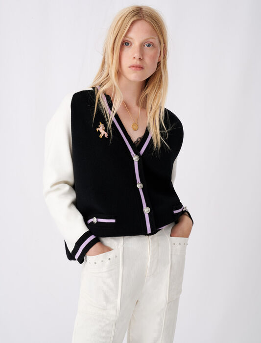 Bicolour college cardigan with patch : remise color