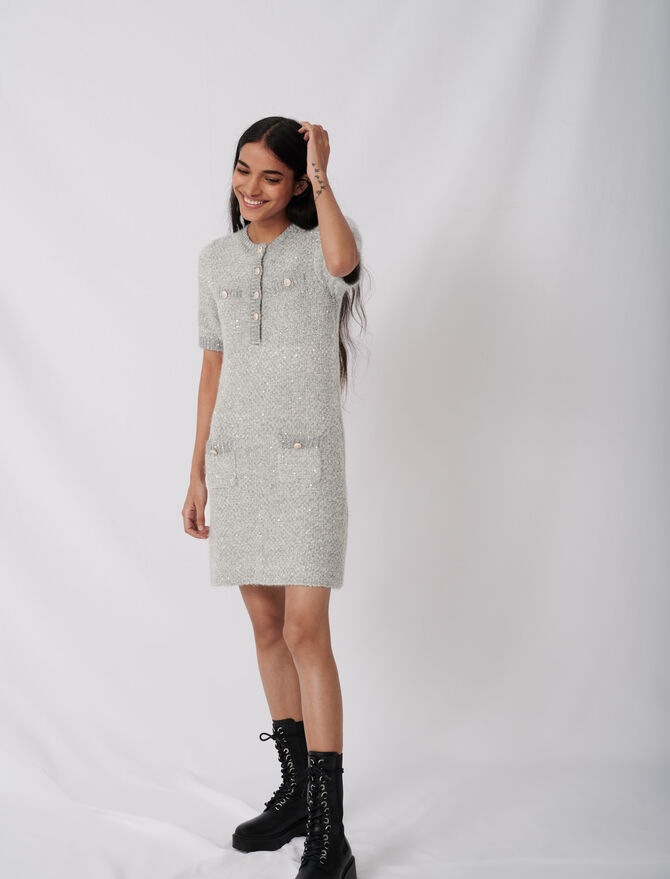 Lurex dress with fancy buttons - Dresses - MAJE