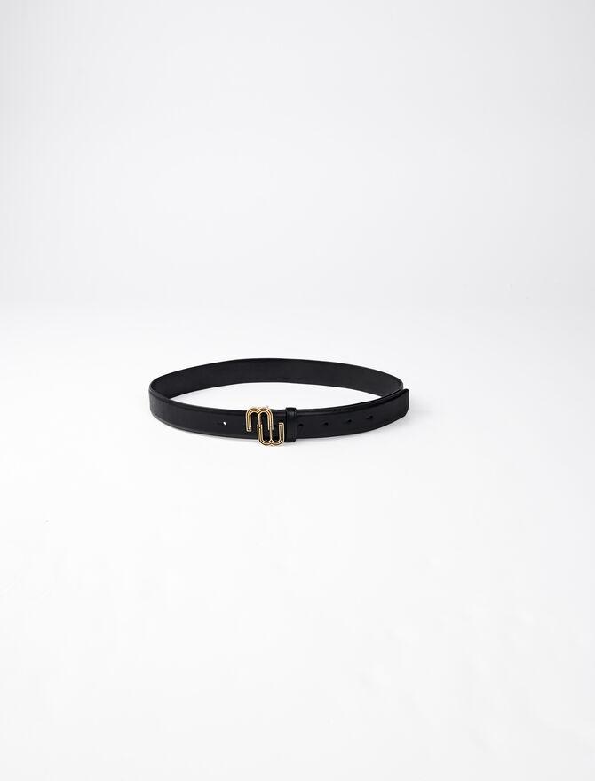 Leather belt with monogram buckle -  - MAJE