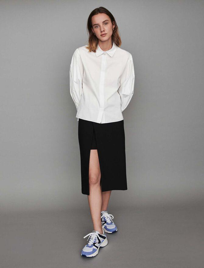 Jeweled button poplin shirt - SoldesFR_Tops_chemises - MAJE