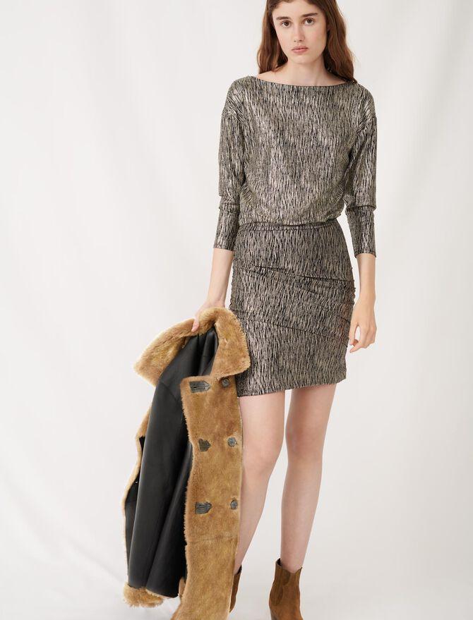 Gold foil dress - Dresses - MAJE