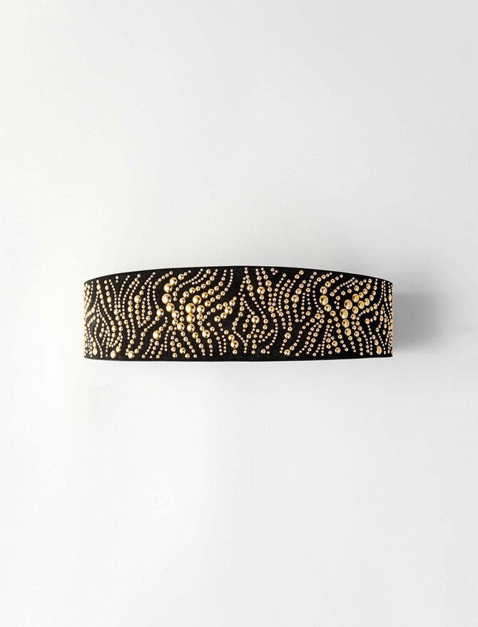 High waisted studded leather belt -  - MAJE
