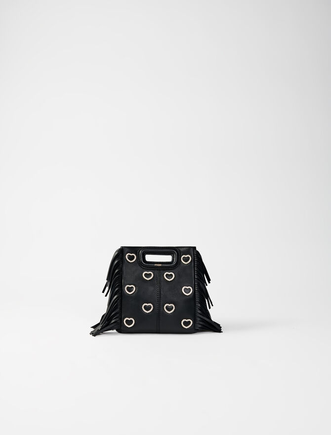 Leather mini M bag, diamanté and chain -  - MAJE
