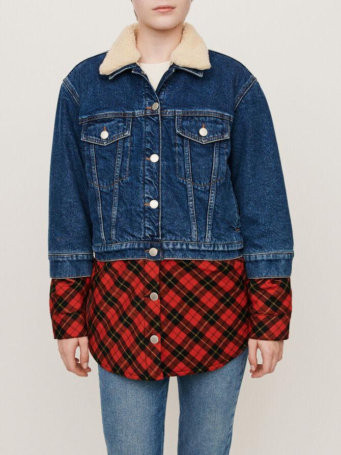 Plaid trompe-l'oeil jean jacket - Jackets & Blazers - MAJE