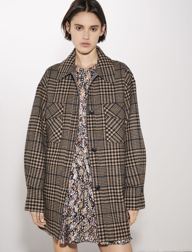 Belted check print coat - Coats & Jackets - MAJE