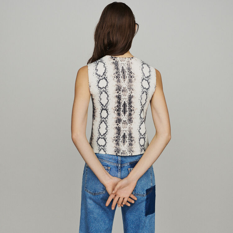 Sleeveless sweater in python print : Pullovers & Cardigans color Printed
