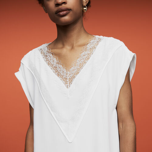 Oversized top with lace : Tops color White