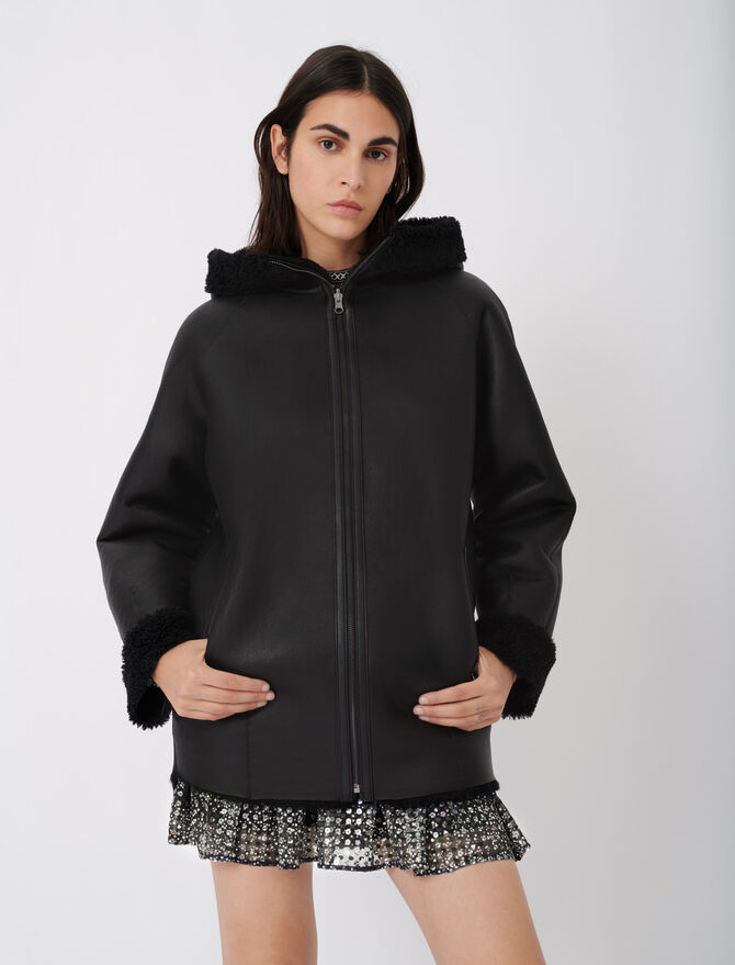 Reversible hooded coat in shearling - Warm up - MAJE