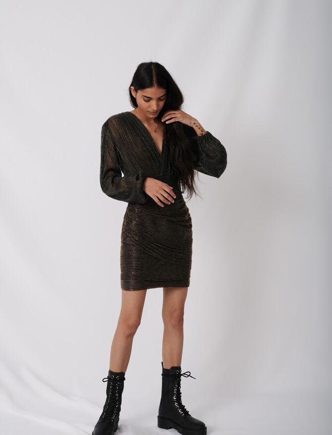 Figure-hugging dress in stretch lurex - Dresses - MAJE