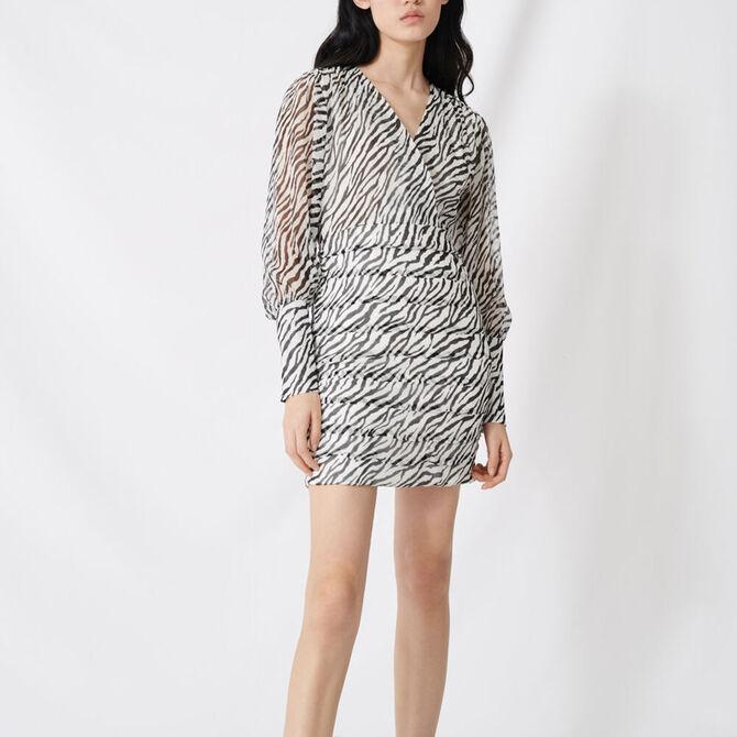 Shirred printed muslin dress - staff private sale 1220 - MAJE