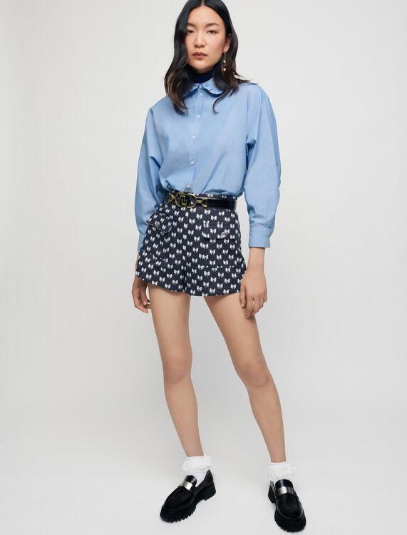 Jacquard shorts with bow pattern - Skirts & Shorts - MAJE