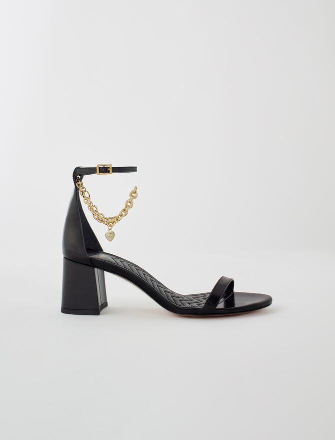 Medium heel sandals with gold-tone chain - Slipper - MAJE