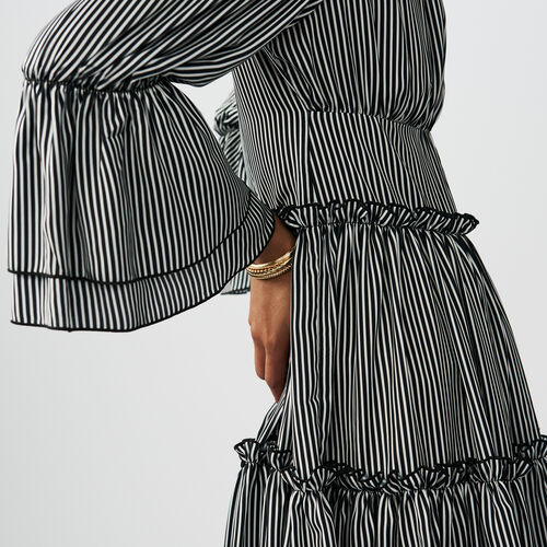 Striped cold-shoulder dress : staff private sale color Stripe