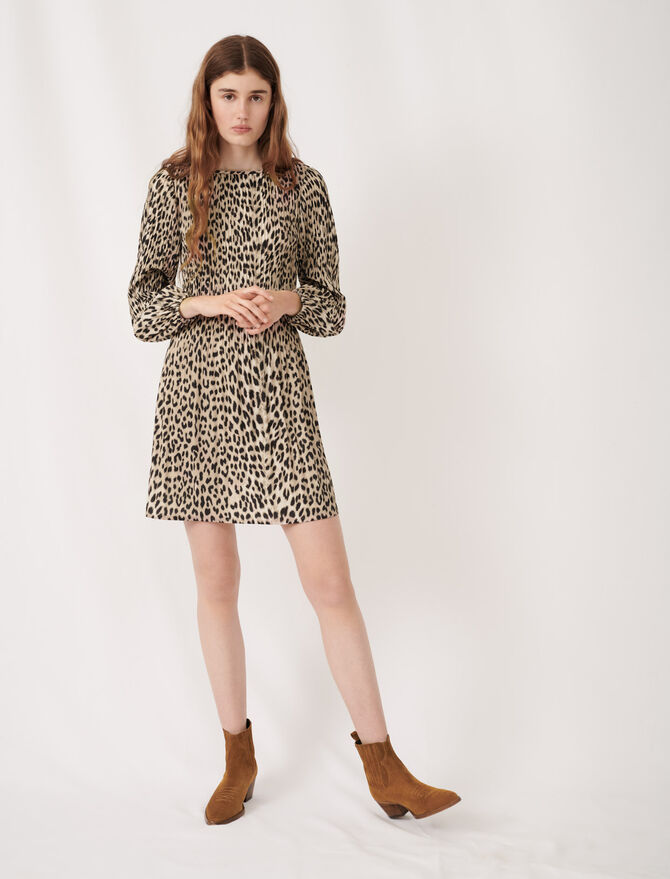 Plissée animal print dress - Dresses - MAJE