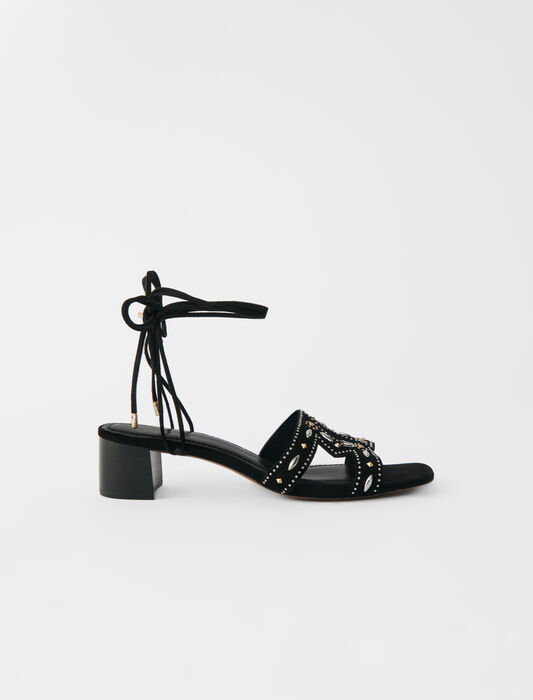 Low-heeled tie sandals with studs : LastchanceIT_30 color Black