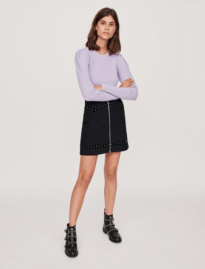 Studded pencil skirt with velvet trim - -30% - MAJE