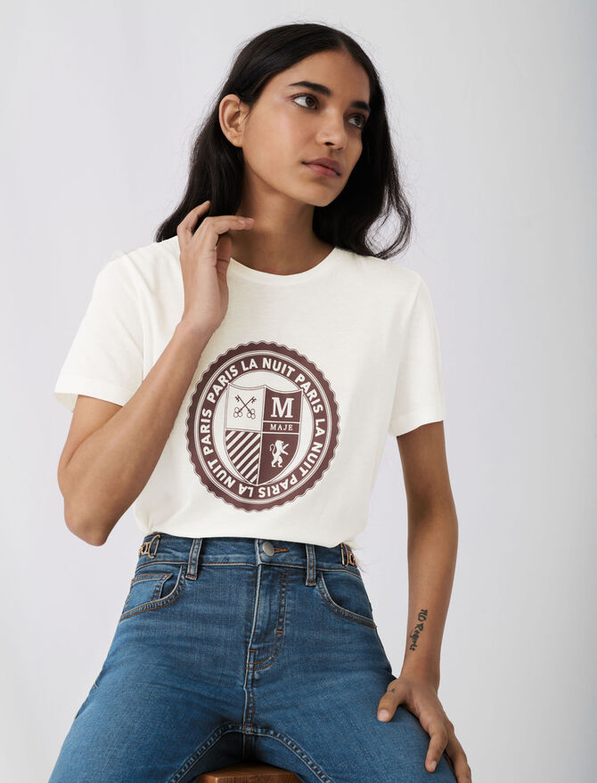 Screen-printed college-style T-shirt - T-Shirts - MAJE