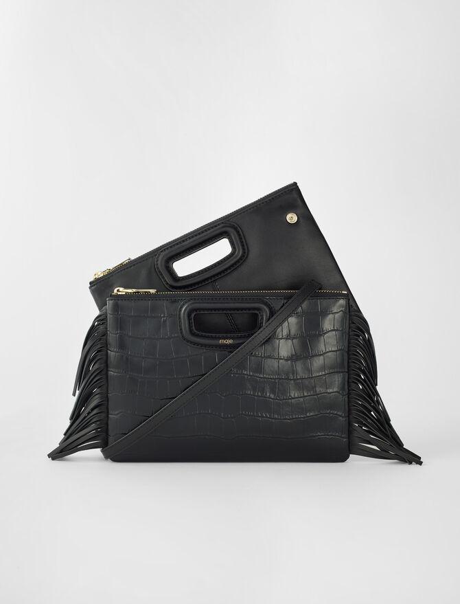 Crocodile effect-leather M Duo clutch - M Duo - MAJE