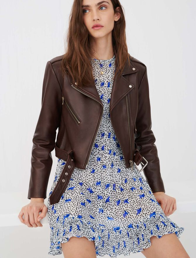 Belted leather biker jacket - Coats & Jackets - MAJE
