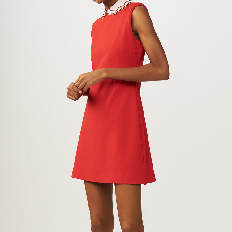 Lace pleated dress : staff private sale color ROUGE