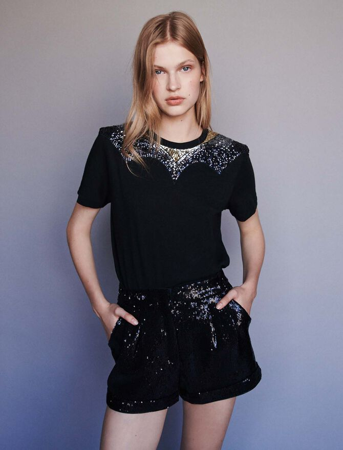 Jersey t-shirt with sequins - More discounts - MAJE