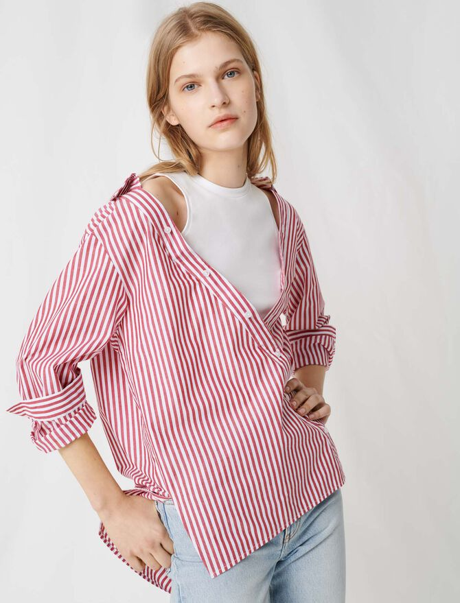 Top with scarf-style short sleeves - Tops & Shirts - MAJE